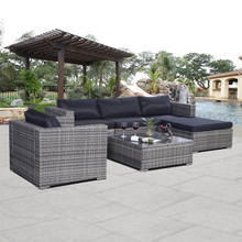Costway 6pc Patio Sofa Furniture Set Pe Rattan Couch Outdoor Cushioned Gray(China)