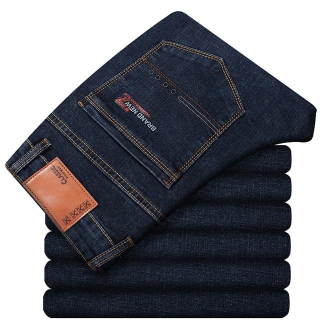 Grote Maat 42 44 46 2020 Voorjaar Nieuwe Mannen Jeans Business Casual Stretch Straight Denim Broek Broek Mannen Merk kleding