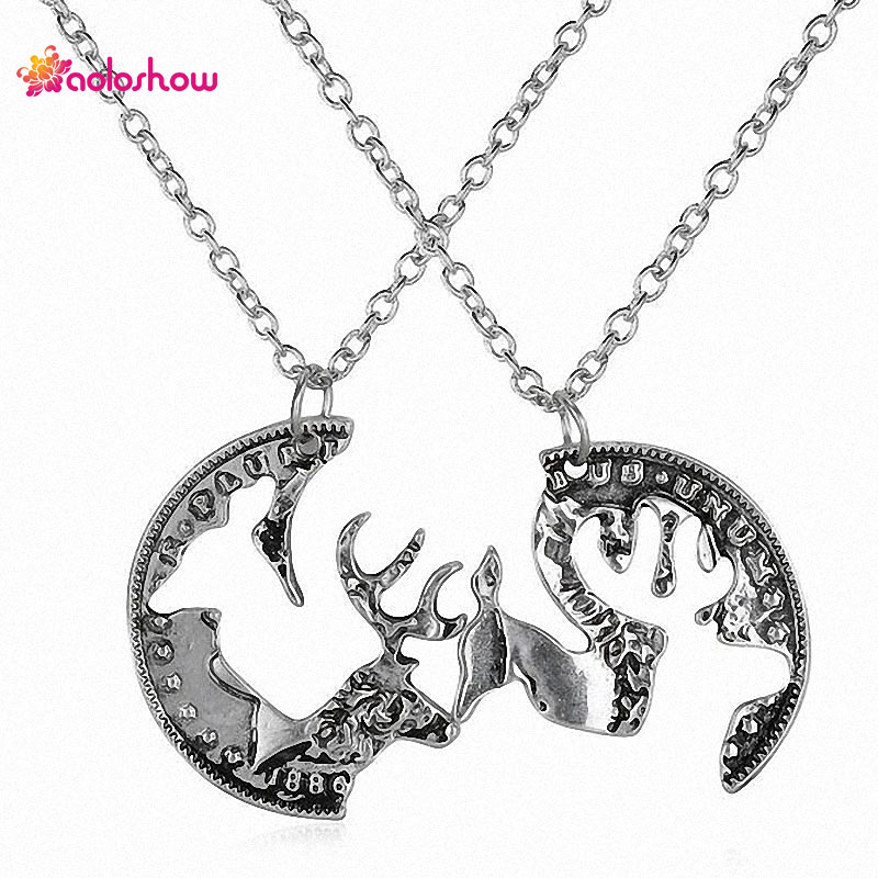 AOLOSHOW Vintige Silver color Best Friends Necklaces Forever 2 Piece Buck and Doe Deer Puzzle Couples Necklace Set Interlocking