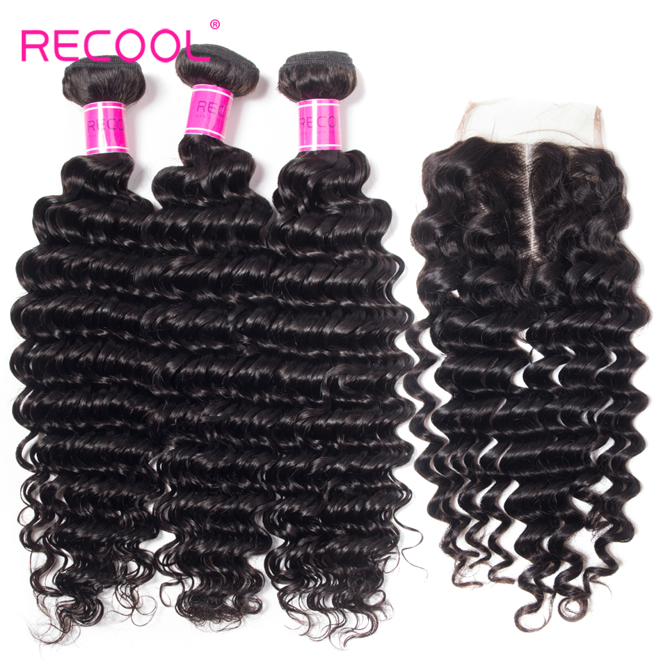 Recool Hair 3 Bundles With 5x5 Lace Closure Deep Wave Natural Color Remy Human Hair Brazilian