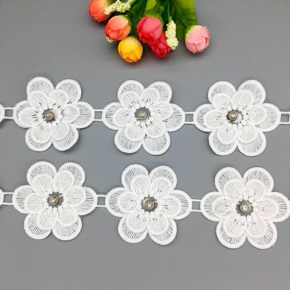 Blanco 100/% Algodón Crochet Trim 7cm Estilo Vintage Boda confección Crafts