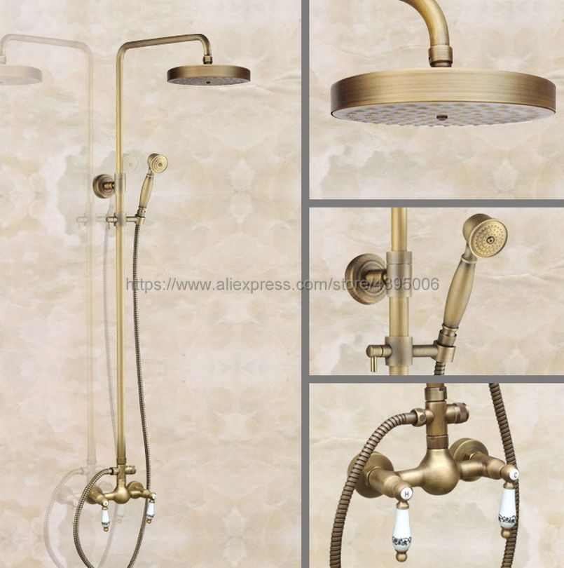 Antique Brass Bathroom Shower Faucet With Hand Shower Mixer Tap Dual Handles Wall Mounted Ban104 wall mounted dual handles antique brass finish bathroom shower faucet mixer tap