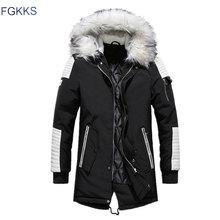 FGKKS 남성 파카 면화 두꺼운 재킷 2020 겨울 새로운 따뜻한 패션 양털 재킷 코트 모피 칼라 남성 파카