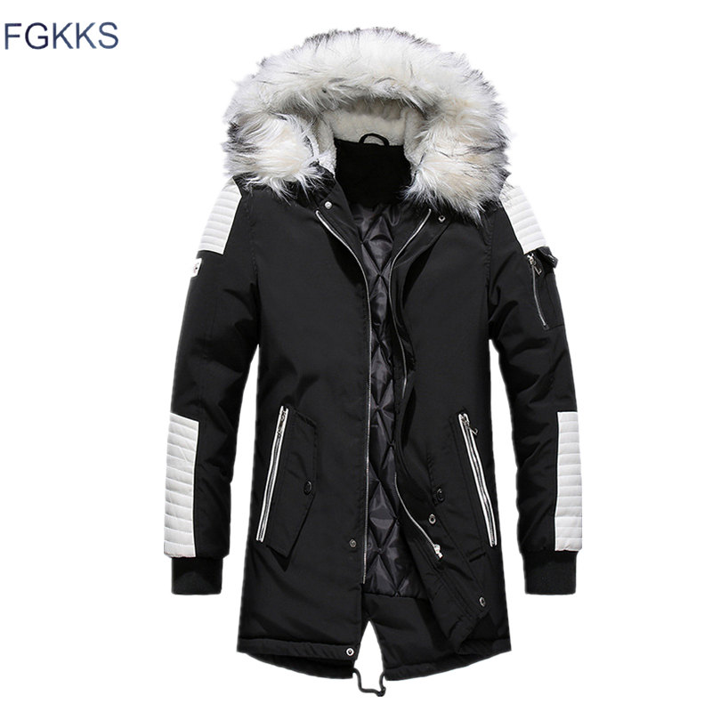 FGKKS Men Parka Cotton Thick Jacket 2019 Winter New Warm Fashion Fleece Jackets Coats Fur Collar  Men's Parkas