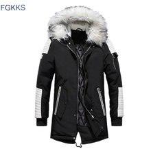 FGKKS Parka épaisse en coton pour homme, veste chaude en polaire à la mode, manteaux, col en fourrure, Parka 2020