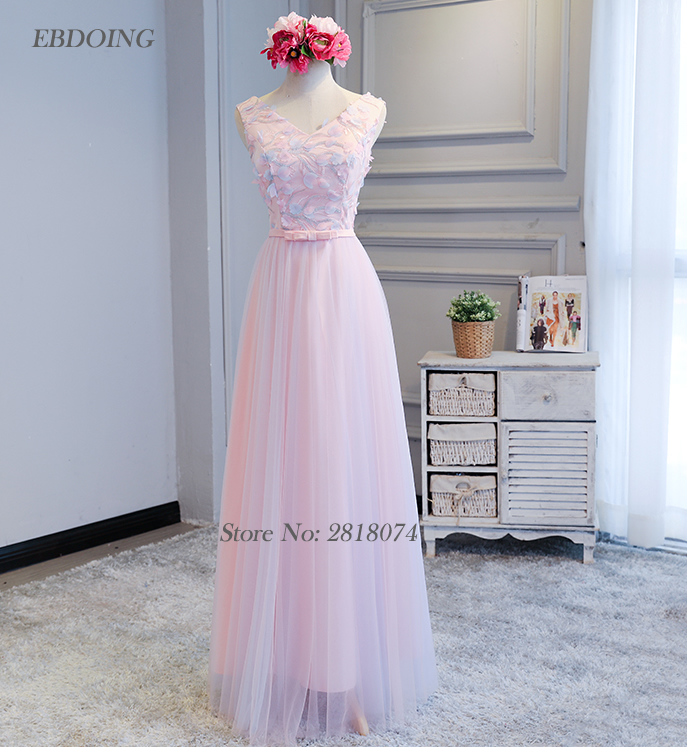 Charming   Bridesmaid     Dresses   2018 V-neck A-line With Appliques Robe De Soiree Floor-length Prom   Dress   Wedding Party   Dresses