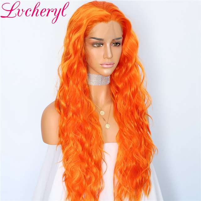 Lvcheryl Pary Wigs Orange Color Water Wave Hair Wigs Heat Resistant Fiber Hair Synthetic Lace Front Wigs for Women Make up