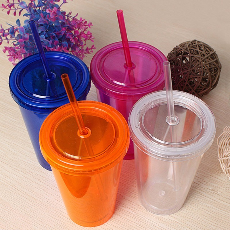 Fashion 500ML Candy Colors Double Wall Milk Smoothie Iced Coffee Juice Water Drink Cup Bottle Beaker Lid With Straw Drinkware usb rechargeable 500ml healthy portable hydrogen rich water cup transparent glass bottle with lid