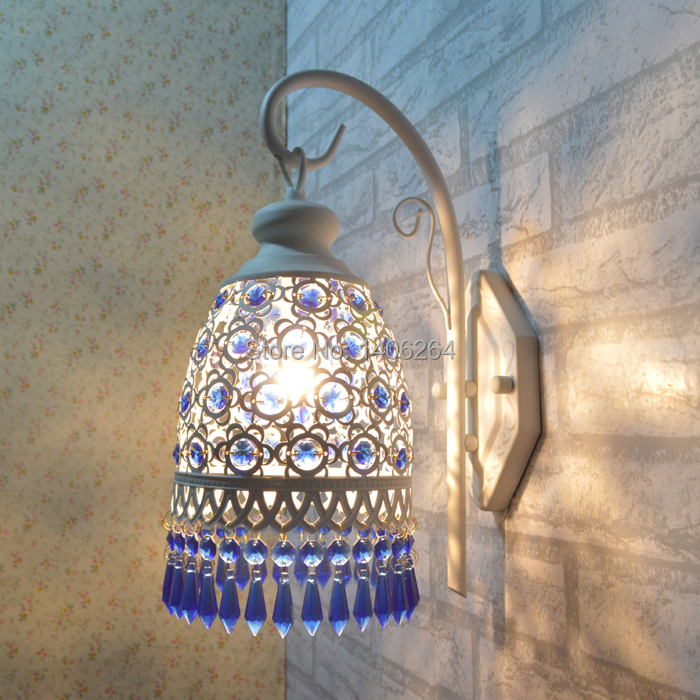 Colorful / Blue Crystal Wall Corridor Lamp balcony Bedside Light Mediterranean Cafe Bar Coffee Shop Store Club Hall Bedroom edison vintage style e27 copper screw rotary switch lamp holder cafe bar coffee shop store hall club