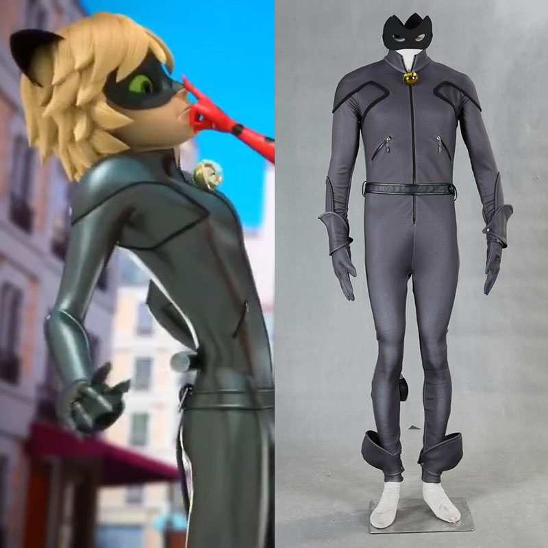 Movie Miraculous Ladybug Adrien Costume Cat Noir with Mask Ears Gloves Cosplay Costume Clothing Outfits Halloween High Quality 2018 kids boy miraculous ladybug costume cat noir with mask ladybug cat cosplay costume with mask lady bug costumes boys clothes