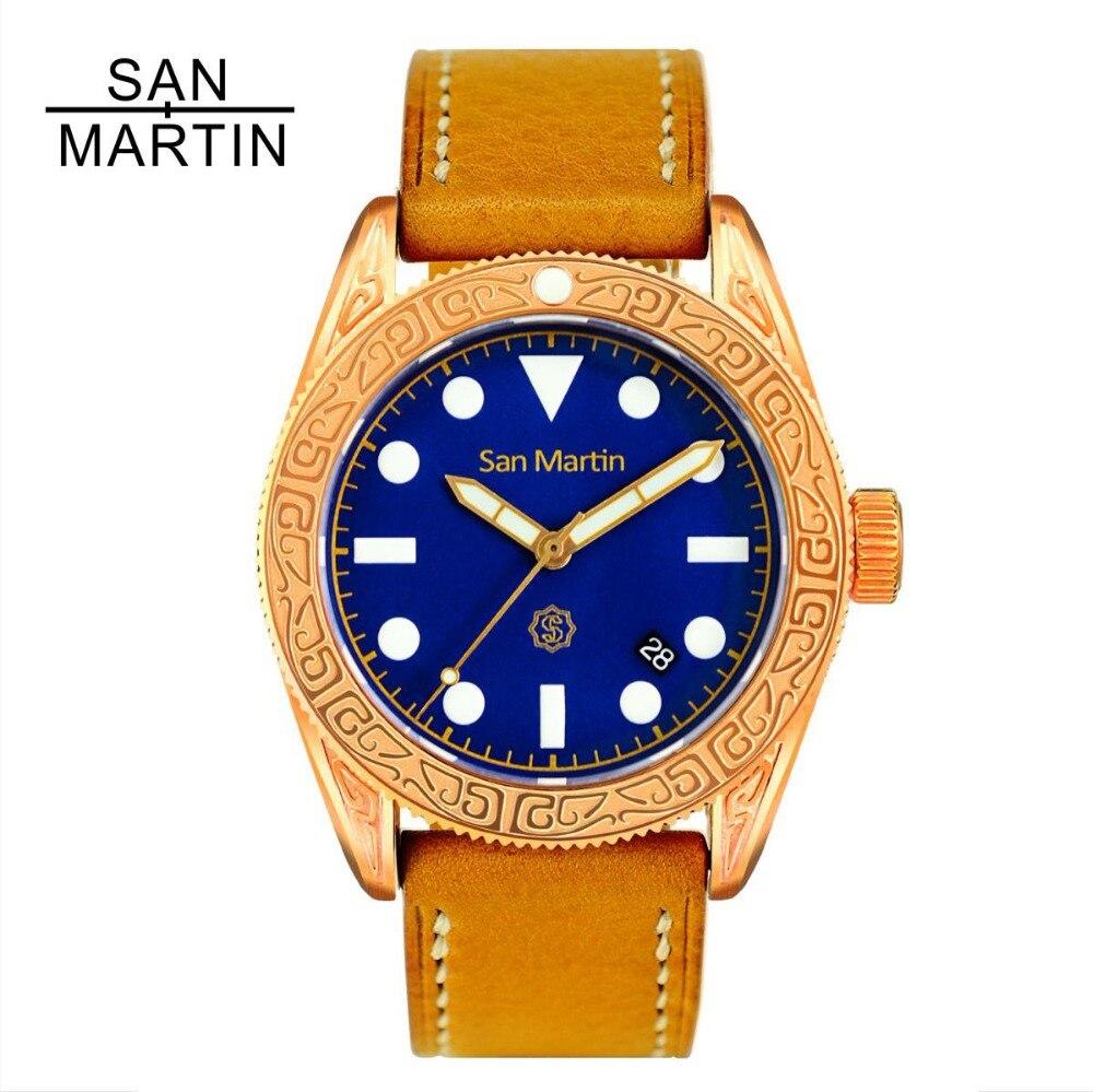 San Martin Men Vintage Diving Watch Vintage Bronze Ding carved Automatic Watch 500 Water Resistant Relojes