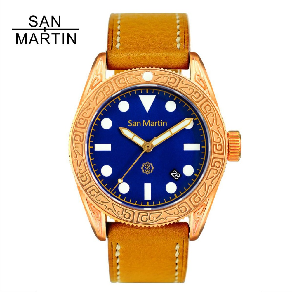 San Martin Men Vintage Diving Watch Vintage Bronze Ding carved Automatic Watch 500 Water Resistant Relojes Hombre 2018 fashion