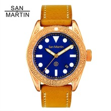 Сан Мартин для мужчин винтаж дайвинг часы Винтаж бронзовый Ding резные автоматические часы 500 водостойкий Relojes Hombre 2018 Мода