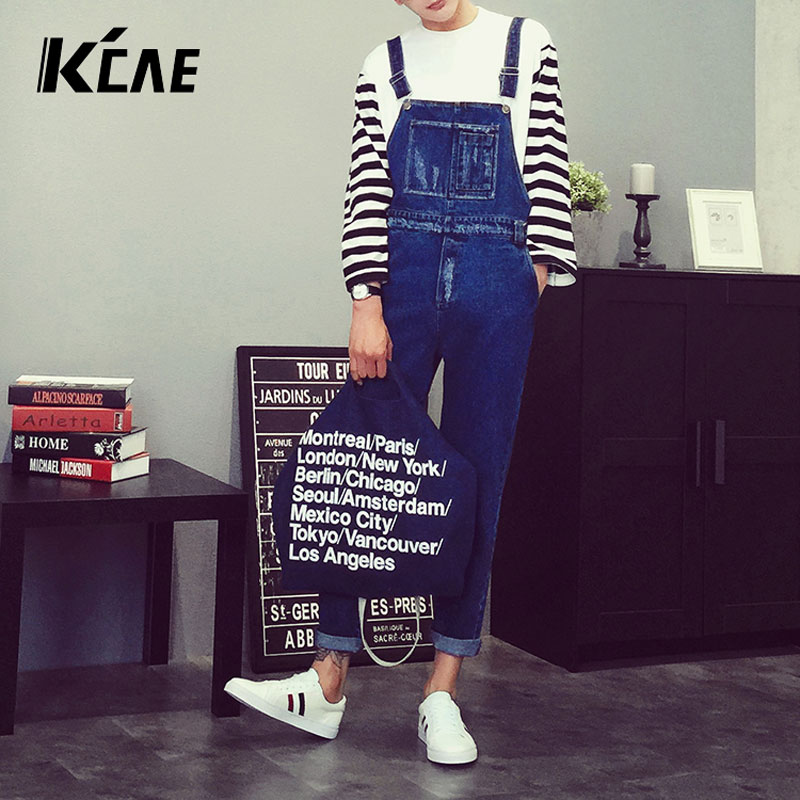 ФОТО 2016 New Brand Cool High quality Man Fashion Hip hop Style jumpsuit jean ,Casual loose wide plus size M-XL bib overalls