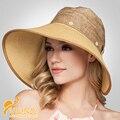 2016 Моды Дамы Летом Соломенная Шляпа с Кружевом Высокое Качество Широкими Полями Шляпы для Женщин Съемный Hat B-2300