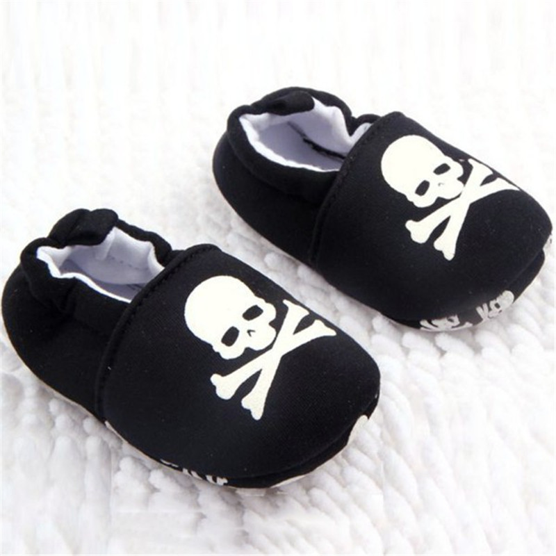где купить Infant Baby Prewalker Skull/Pirate Print Cotton Soft Bottom Shoes Unisex First Walkers дешево