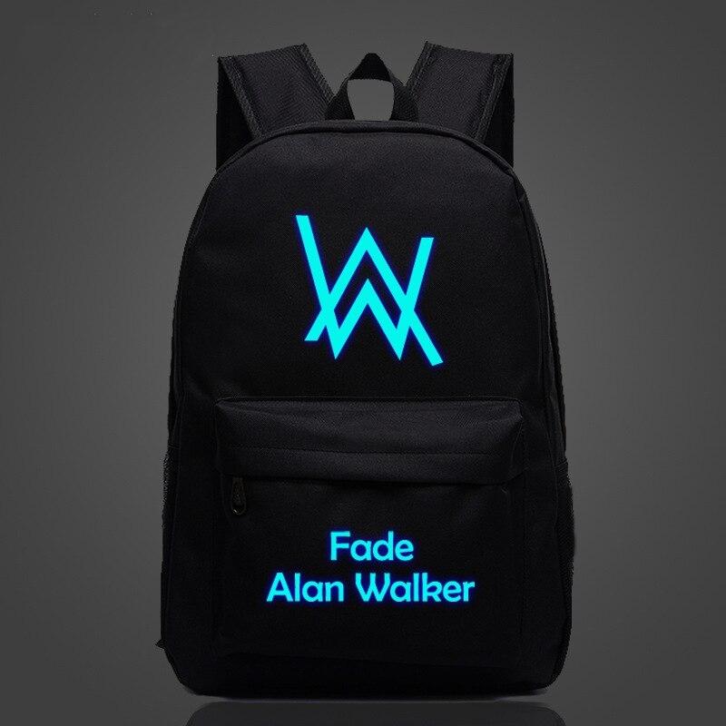 Alan Walker Luminous Printing Backpack 18'' Hip Hop Harajuku Mochilas School Students Book Bag Canvas Backpacks Glowing At Night