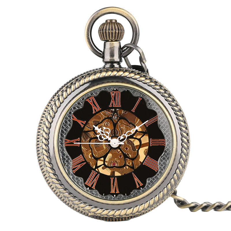 Antique Black Skeleton Mechanical Pocket Watch Gift Father Men Women Vintage Pendant Big Face Windup Watches with Short Chain купить