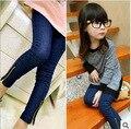 2015 осень новые девушки джинсы хлопок джинсы детские синие лосины девушки низкие брюки эластичный пояс брюки pantskirt молния карандаш штаны
