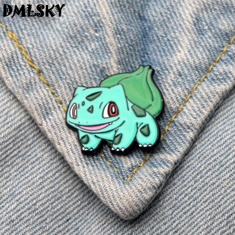 DMLSKY Bulbasaur Funny Brooch Metal badge Women and Men Enamel Pins Brooches for Clothes Bags Shirt Collar Pin Gifts M3062