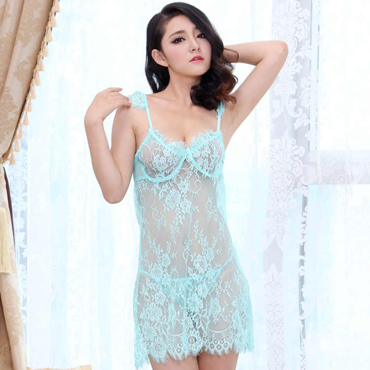 4375913fbae ... Sexy Lingerie Erotic See Through Hollow Lace Gather Support Slip Sleep Dress  Women Push Up Nightgowns ...