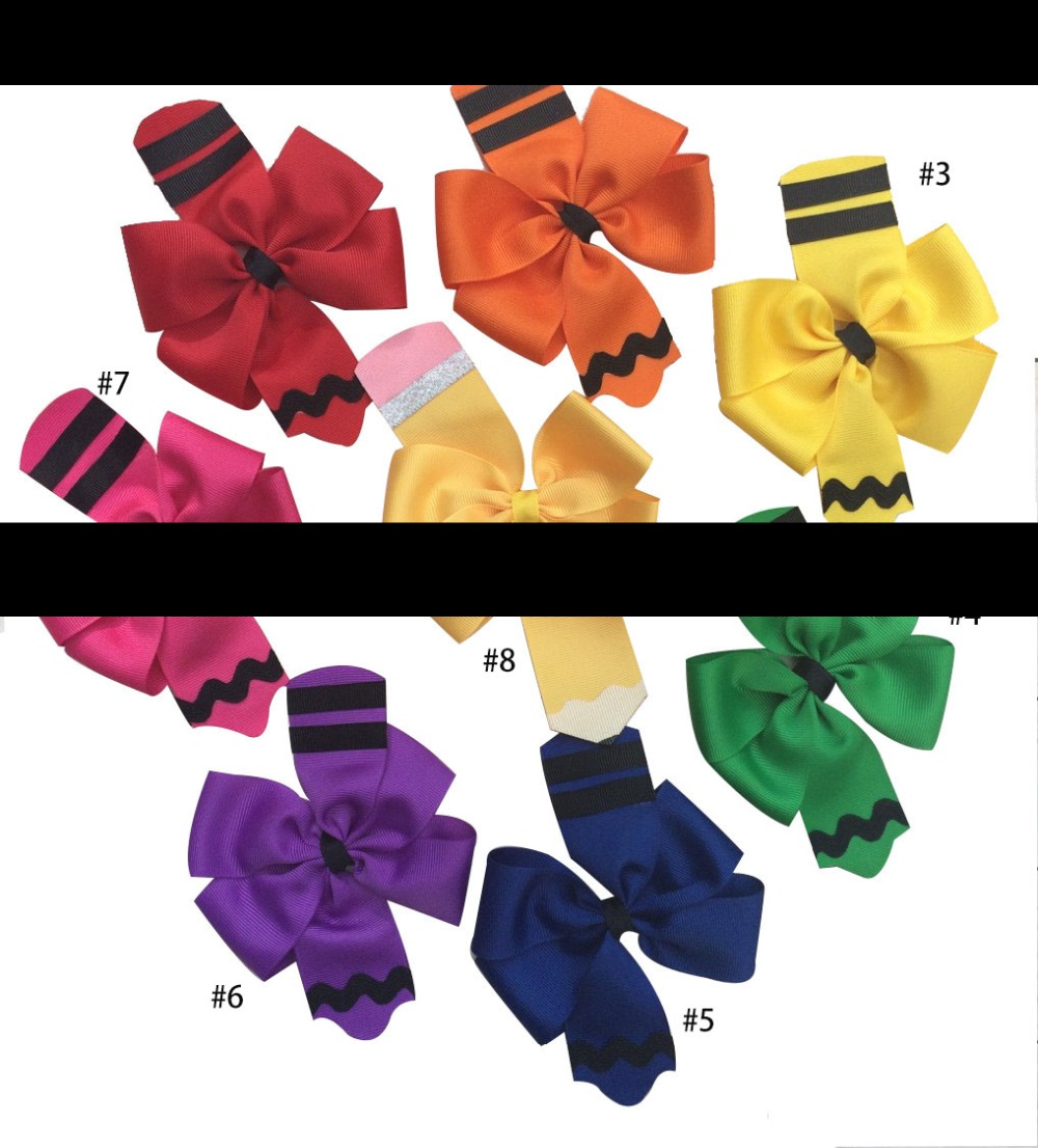 free shipping 30pcs 4 5 Pencil Hair Bow Back to School Hair Bow crayon hair clipSchool