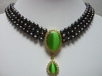 Charm 3 row 6 7mm Black Freshwater pearl &18GKP opal Cat' s eye Green pendant Bridal wedding Jewelry necklace