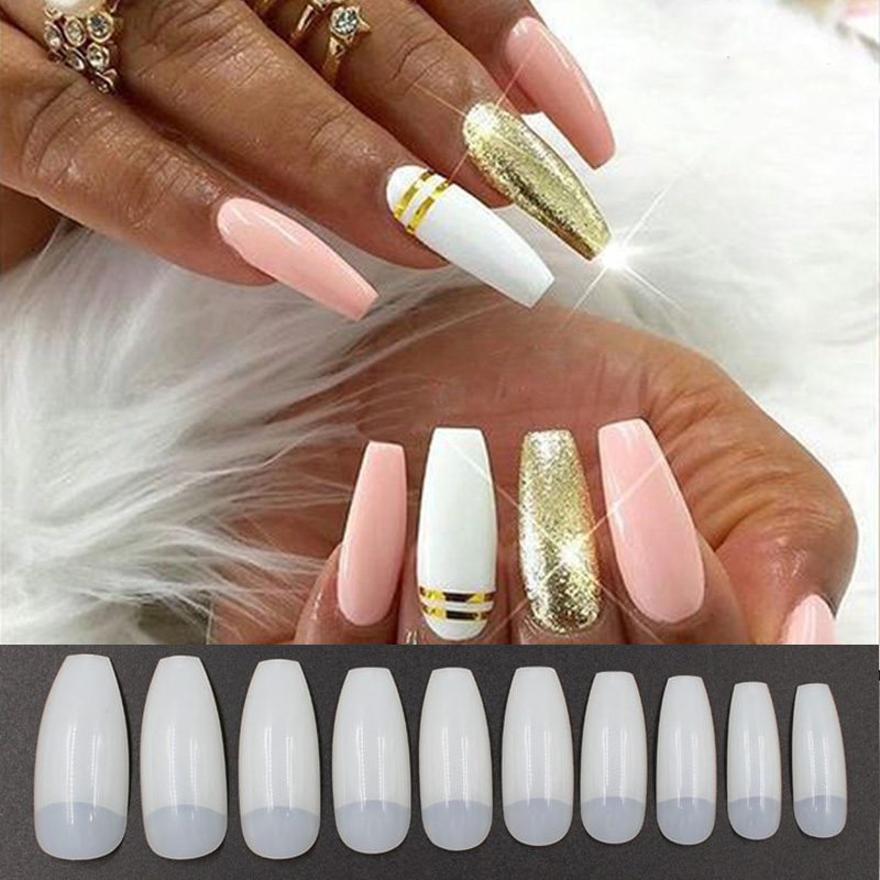 500pcs Long Ballerina Half Nail Art Tips Natural Coffin Nails Flat Shape  Full Cover Acrylic Artificial Nail Tips