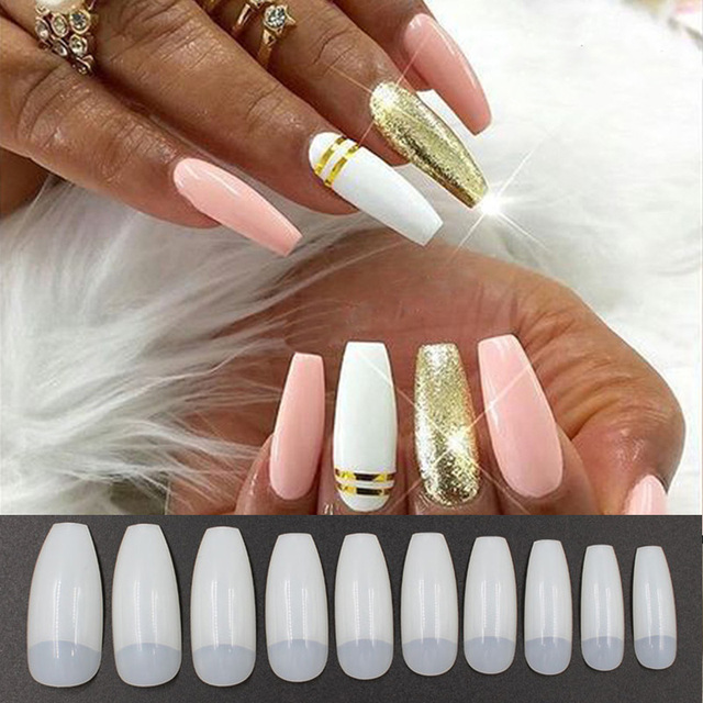 New 500pcs Square Half Nail Tips Long Ballerina False Nails High ...