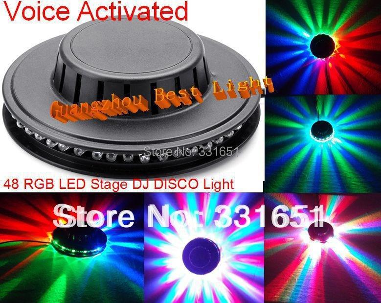 2013 LED DJ Sunny Light 8W 48pcs RGB LED Voice Activated Stage Light DJ Disco Bar Ballroom Club Party Light