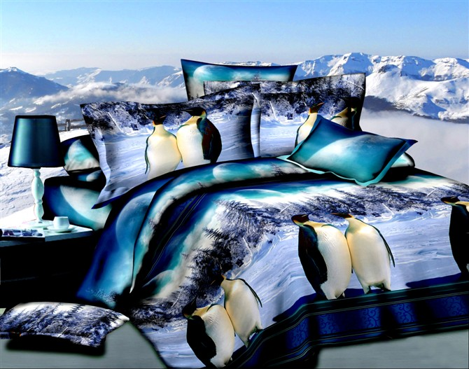 Blue Penguin Bedding Sets For Queen Size Duvet Cover