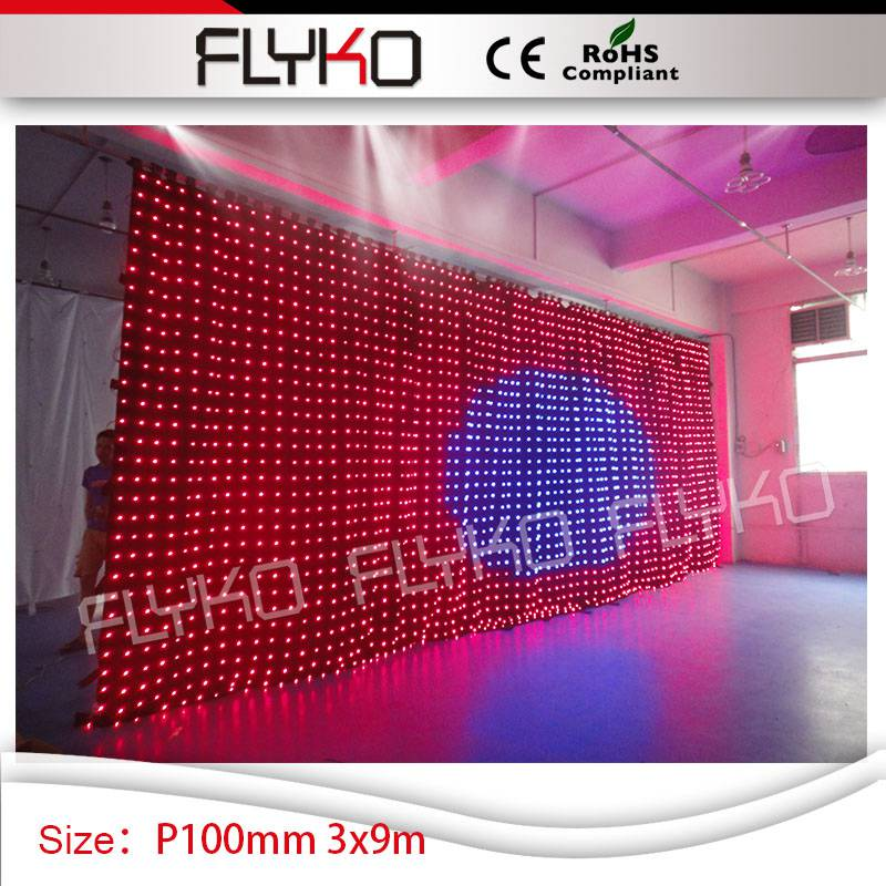 High Quality P10 Led Video Curtain Play Full Sexy Movies 10ft30ft Led Light Stage Curtain Soft Led Curtain