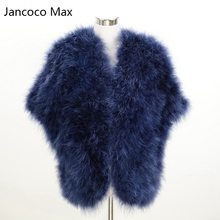 Jancoco Max 2017 New Women Real Ostrich Feather Fur Poncho Or Lady Turkey Fur Shawl Wholesale / Retail S1244