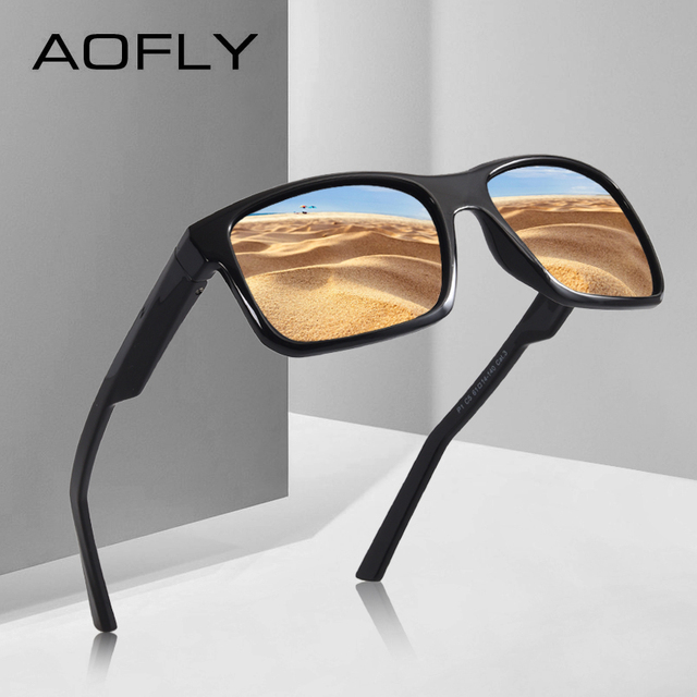 AOFLY BRAND DESIGN Cool Men Polarized Sunglasses TR90 Frame Sun Glasses Male Square Shades Googles Oculos Gafas De Sol AF8084