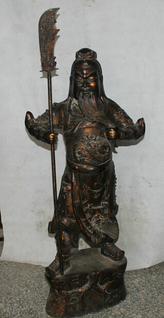 46 China Bronze Stand Folk sword font b knife b font Guan Gong Yu Warrior God