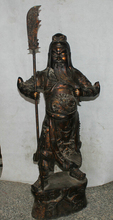 46″ China Bronze Stand Folk sword knife Guan Gong Yu Warrior God knight Statue decoration crafts