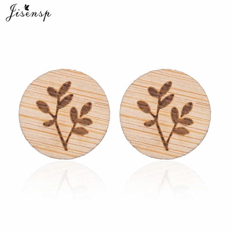 Jisensp Indah Kecil Tunas Pohon Kayu Anting-Anting untuk Wanita Baru Fashion Besar Buatan Tangan Alami Tanaman Kayu Hadiah Perhiasan Anting-Anting