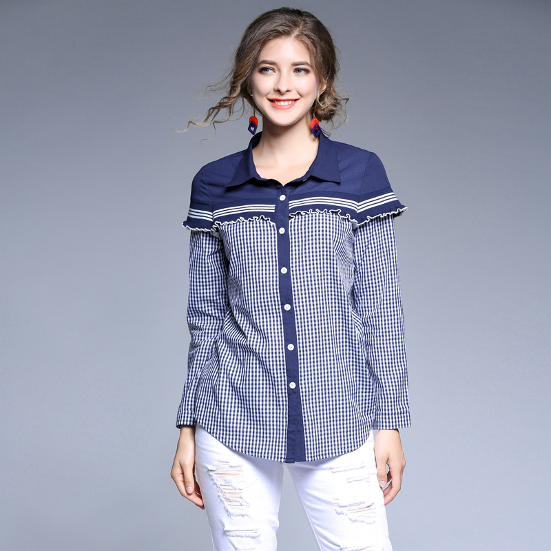 blouses and shirts women 2017 winter blouses for women female blouse shirt Casual blue plaid spliced shirt ladies tops blusas