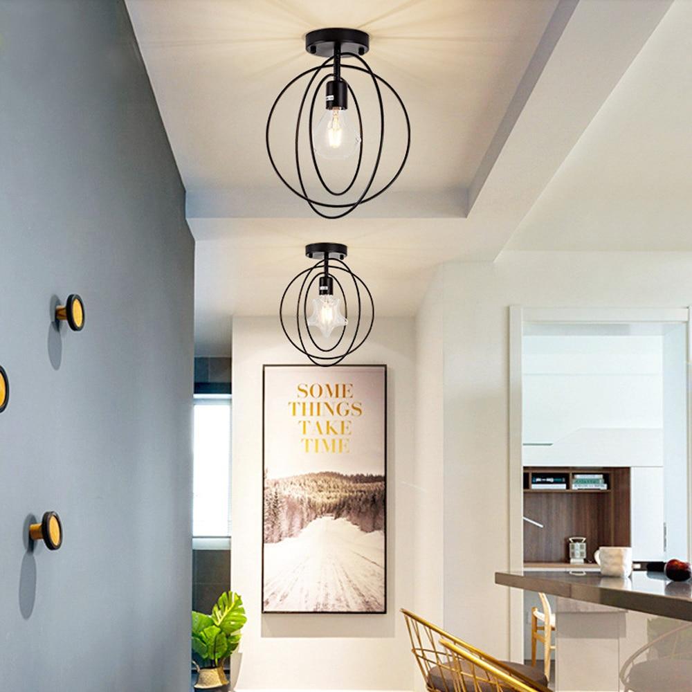 JUSHENG Vintage Ceiling Lights Iron Black/Golden Ceiling Lamp Retro Cage Light Kitchen Fixtures Home Lighting