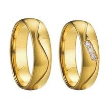 Anillo de joyería nupcial único Vintage alianza pareja boda para hombre Anillos de Compromiso de aniversario de Color dorado para mujer
