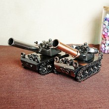 HOT! Retro Iron Tank Model Ornaments Vintage Metal Tank Crafts Home Decor Gift Kids Gift Free Shipping