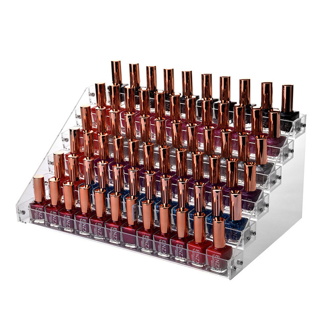 6 Tiers Layers Clear Acrylic Nail Polish Rack Organizer Household Large Holder Cosmetic Lipstick Jewelry Storage