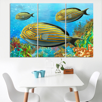 3 Panel Large Colorful Fish Canvas Painting Ocean Scapes View Wall Art Picture Home Decor Sea