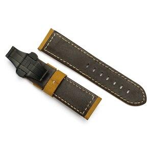 Image 5 - 24mm Italien Echtes Leder Uhr band Gelb Weiche Uhr Band Strap mit Faltschließe für 24mm PANERAI Uhren armband