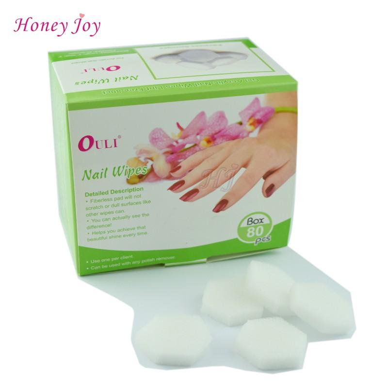 80 unids/caja Fibreless esponja pelusa removedor toallitas para acrílico Gel Wraps uñas manicura uñas limpieza toallitas en Removedor de Esmalte de ...