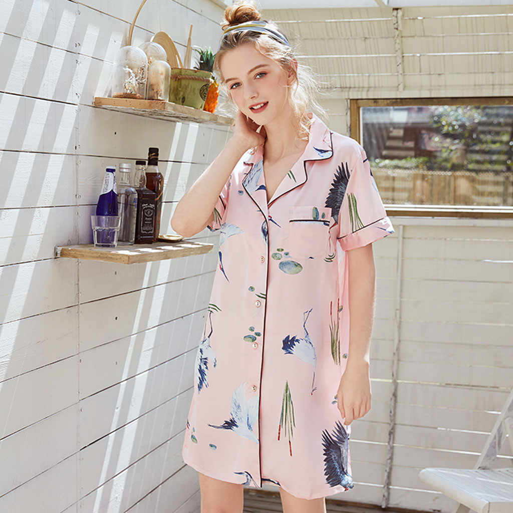 Summer ladies casual lapel fashion explosions short-sleeved printed cardigan loose button buckle nightdress gecelik 40*