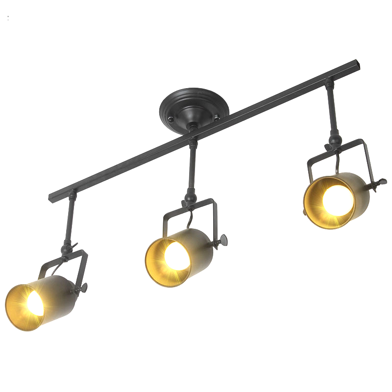 Retro Loft Vintage 3 head LED Track lamp E27 lamp holder Kung 1/2/3/4 light with rail Ceiling Lamp Bar Clothing spotlight цена