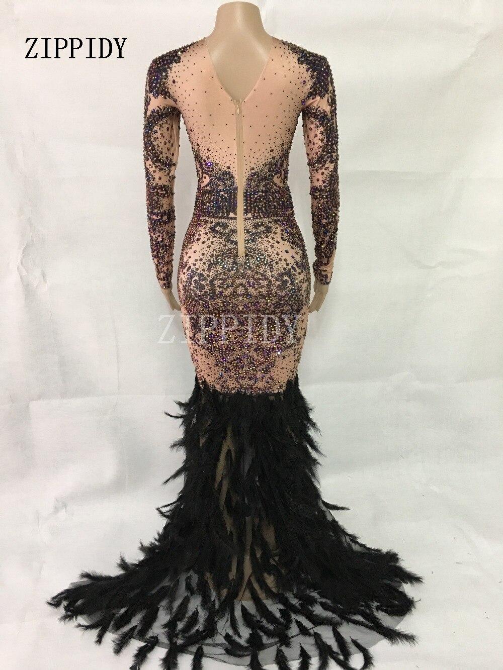 Vestido de fiesta de graduación Vestido largo de plumas negras con diamantes de imitación de colores brillantes a la moda-in Vestidos from Ropa de mujer    2