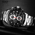 BOSCK Brand Quartz Watch Men 3 Eyes Time Waterproof Men's Sports Hub Watches Military Ultra Thin Watch 3102 relogio masculino
