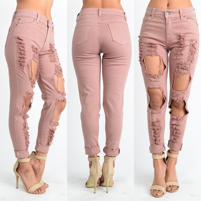 pink ripped jeans